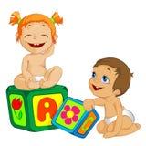 Um menino e uma menina Fotos de Stock Royalty Free