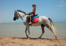 Um menino em horseback Imagens de Stock