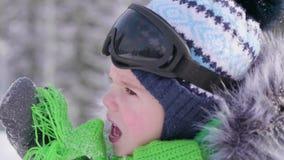 Um menino em um parque do inverno, close-up da cara inverno gelado Passeio no ar fresco Estilo de vida saudável vídeos de arquivo