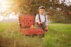 Um menino em um pomar de maçã fotografia de stock