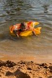 Um menino flutua em um círculo inflável Fotografia de Stock
