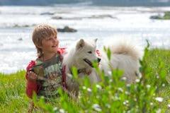 Um menino joga com um cão de puxar trenós do cão Imagem de Stock