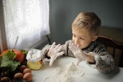 Um menino na cozinha imagens de stock