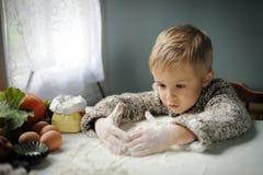Um menino na cozinha foto de stock