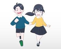 Um menino na mão azul da camiseta que guarda uma menina na ilustração amarela da camiseta ilustração royalty free