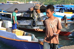 Um menino no porto Indonésia de Labuan Bajo Fotografia de Stock Royalty Free