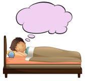 Um menino novo com um pensamento vazio ao dormir Fotografia de Stock Royalty Free