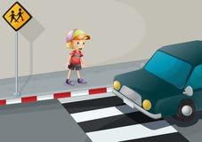 Um menino novo na pista pedestre ilustração stock