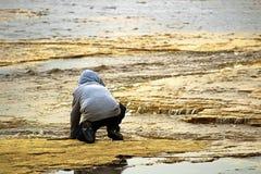 Um menino novo no rios afia o fluxo de observação da água Fotografia de Stock