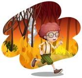 Um menino que corre do incêndio violento ilustração stock