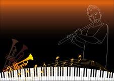 Um menino que joga a flauta Imagem de Stock Royalty Free
