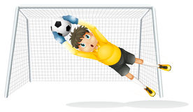 Um menino que pratica para travar a bola de futebol ilustração stock