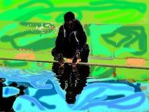 Um menino que senta-se perto do lago Imagem de Stock
