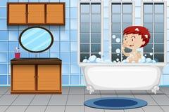 Um menino que toma o banho ilustração royalty free