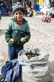 Um menino que vende batatas no mercado em Pisac no Peru Imagens de Stock