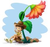 Um menino que veste um chapéu que senta-se abaixo da flor gigante ilustração royalty free