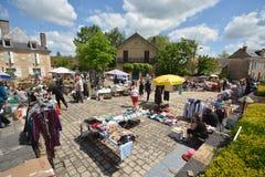 Um mercado de domingo em Aiguillon em França Fotografia de Stock