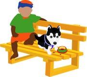 Um miúdo & um cão pequeno Fotos de Stock Royalty Free