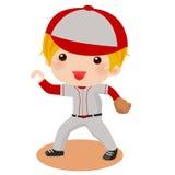 Um miúdo que joga um basebol Fotografia de Stock Royalty Free