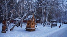 Um moinho coberto de neve fotos de stock