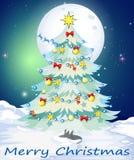 Um molde do cartão de Natal com uma árvore do White Christmas Imagens de Stock