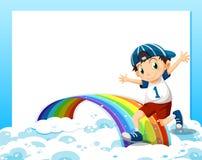 Um molde vazio com um menino que joga acima das nuvens e do ra Fotos de Stock