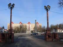 Um monumento no quadrado de Polotsk Fotografia de Stock
