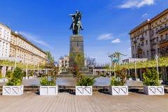 Um monumento a Yuri Dolgoruky em Moscou imagem de stock