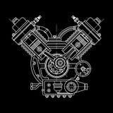 Um motor de combustão interna O motor do desenho da máquina na seção, ilustrando a estrutura interna - Foto de Stock Royalty Free