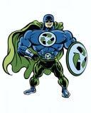 Um muscular super recicla o super-herói verde com o seu recicla o protetor à disposição Foto de Stock