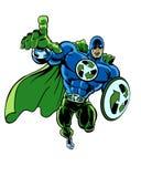 Um muscular super recicla o super-herói verde com seu apontar do dedo Imagem de Stock Royalty Free