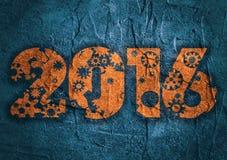 Um número novo de 2016 anos com silhuetas das engrenagens Imagem de Stock