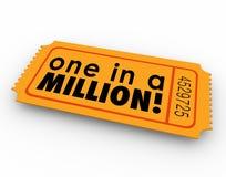 Um na possibilidade da sorte do jogo do vencedor do bilhete da rifa de milhão palavras Fotos de Stock