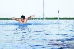Um nadador do passatempo da borboleta na ação Imagens de Stock Royalty Free