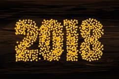 Um Natal que o ouro figura que 2018 fizeram dos confetes fundo do ano novo feliz ilustração stock