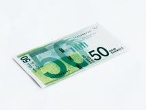Um novo tipo de valor da cédula 50 shekels israelitas isolado em um fundo branco Imagens de Stock Royalty Free