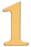 1, um, numeral da madeira combinou com a inserção amarela, isolada sobre Fotos de Stock Royalty Free