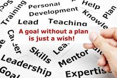 Um objetivo sem um plano é apenas um conceito do desejo Foto de Stock Royalty Free