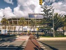 Um olhar dentro do estádio de futebol de Malaga imagens de stock royalty free