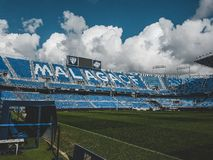 Um olhar dentro do estádio de Malaga imagem de stock royalty free