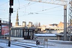 Um olhar do estação de caminhos-de-ferro central de Riga Imagem de Stock