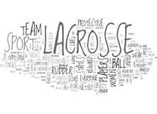 Um olhar na nuvem da palavra da lacrosse ilustração stock