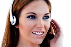 Um operador amigável da secretária/telefone Fotografia de Stock Royalty Free