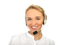 Um operador amigável da secretária/telefone Imagens de Stock