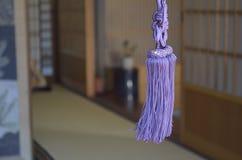 Um ornamento roxo pendura na janela Foto de Stock