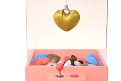 Um ouro e um coração no brinquedo crane a máquina ilustração 3D Imagem de Stock