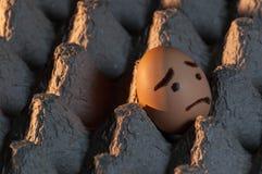 Um ovo assustado apenas em uma bandeja do ovo Imagens de Stock Royalty Free