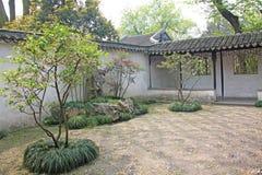 Um pátio chinês interno pequeno e árvores Cidade de Shanghai foto de stock royalty free
