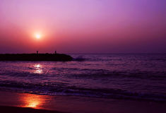 Um pôr-do-sol maravilhoso em Sri Lanka Foto de Stock Royalty Free