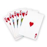Um pôquer real dos cartões de jogo do resplendor reto Imagem de Stock Royalty Free